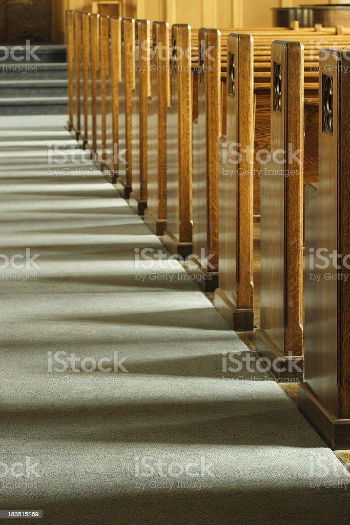 Church Pew Bench Row stock photo