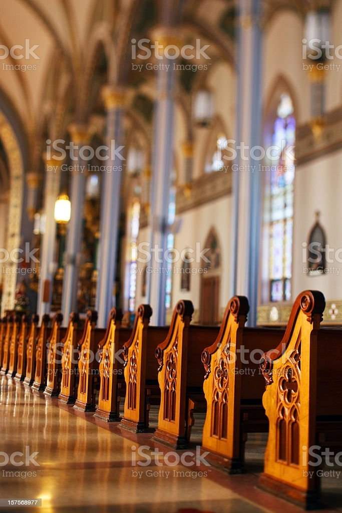 church pew tilt shift lens stock photo