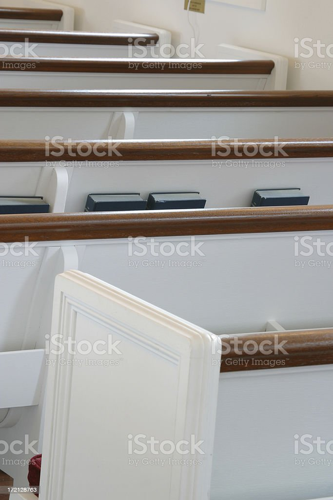 Church Pews and Books 1 royalty-free stock photo