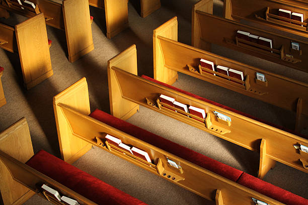 Church Pews Church pews in a church sanctuary church stock pictures, royalty-free photos & images