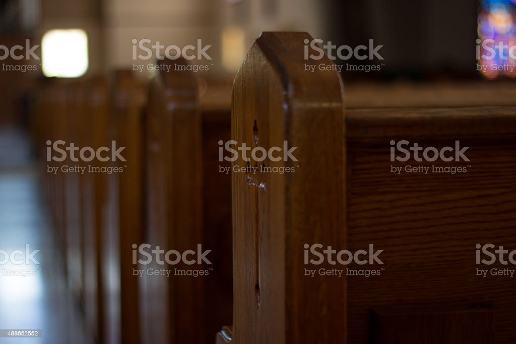 Church Pews, with a Cross stock photo
