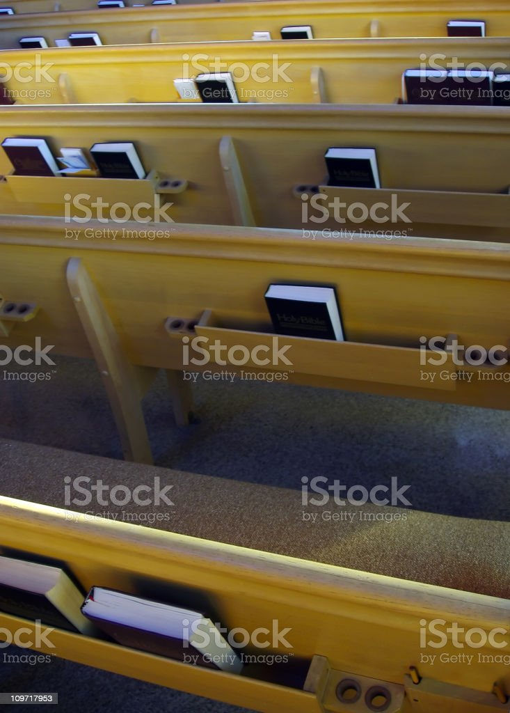 Church Pews with Bibles royalty-free stock photo