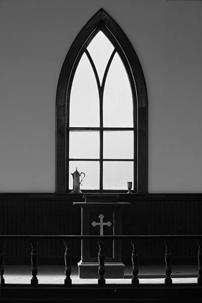 Church View of the pulpit area of an old Church pulpit stock pictures, royalty-free photos & images