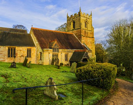 a country village parish church in england - beoley worcestershire