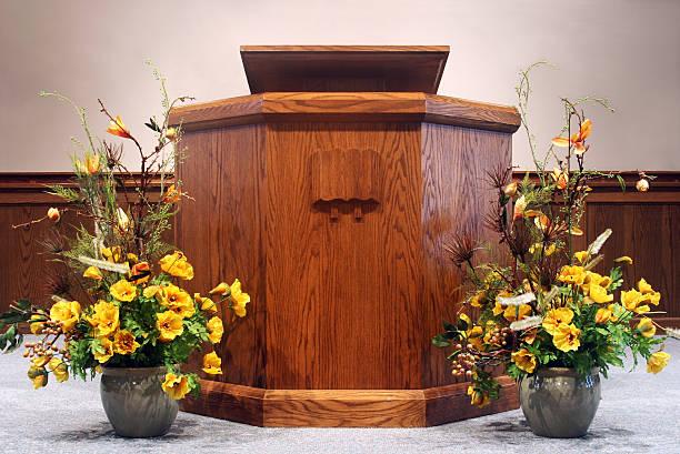 Church pulpit.