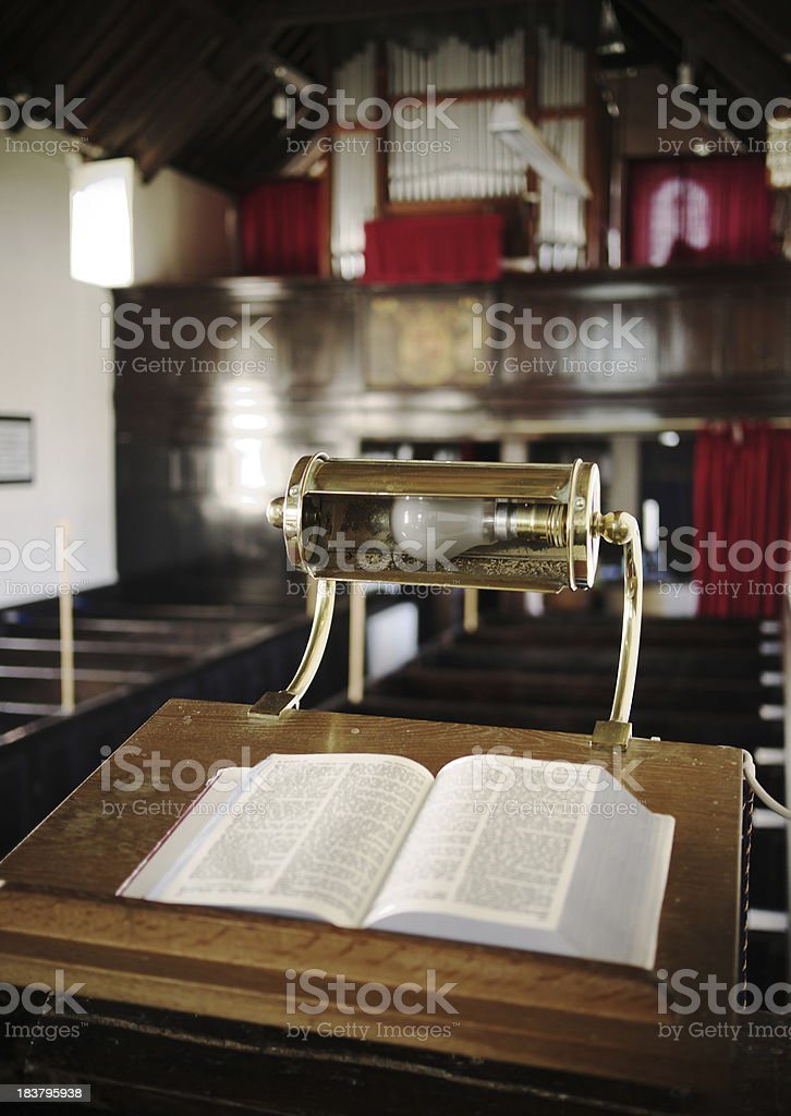 Church Pulpit with Bible royalty-free stock photo