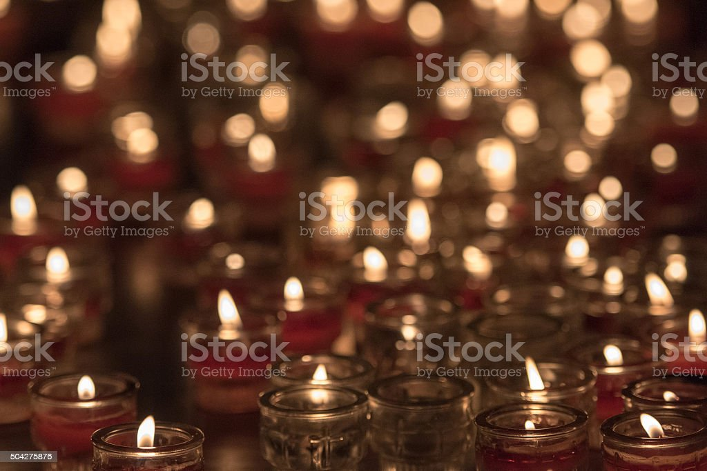 church red votive candles white flames stock photo