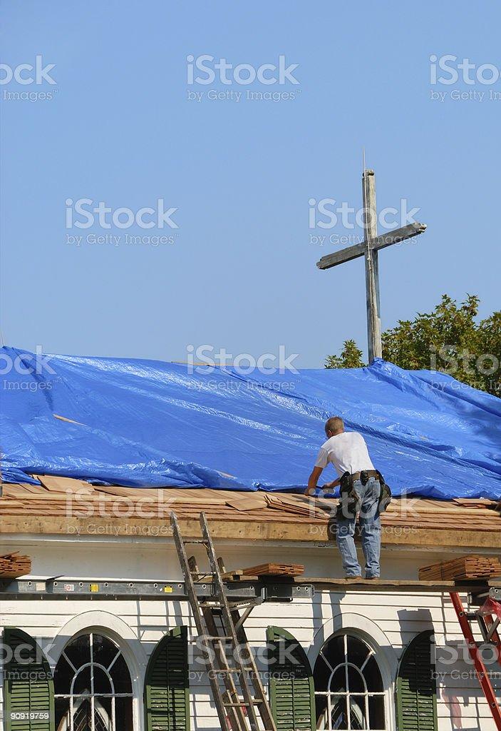 Church Roof Repair royalty-free stock photo