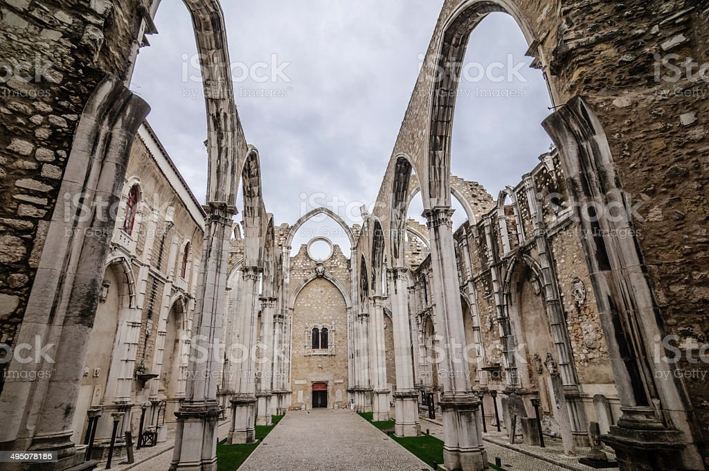 Church ruins of the Carmo Convent in Lisbon, Portugal stock photo