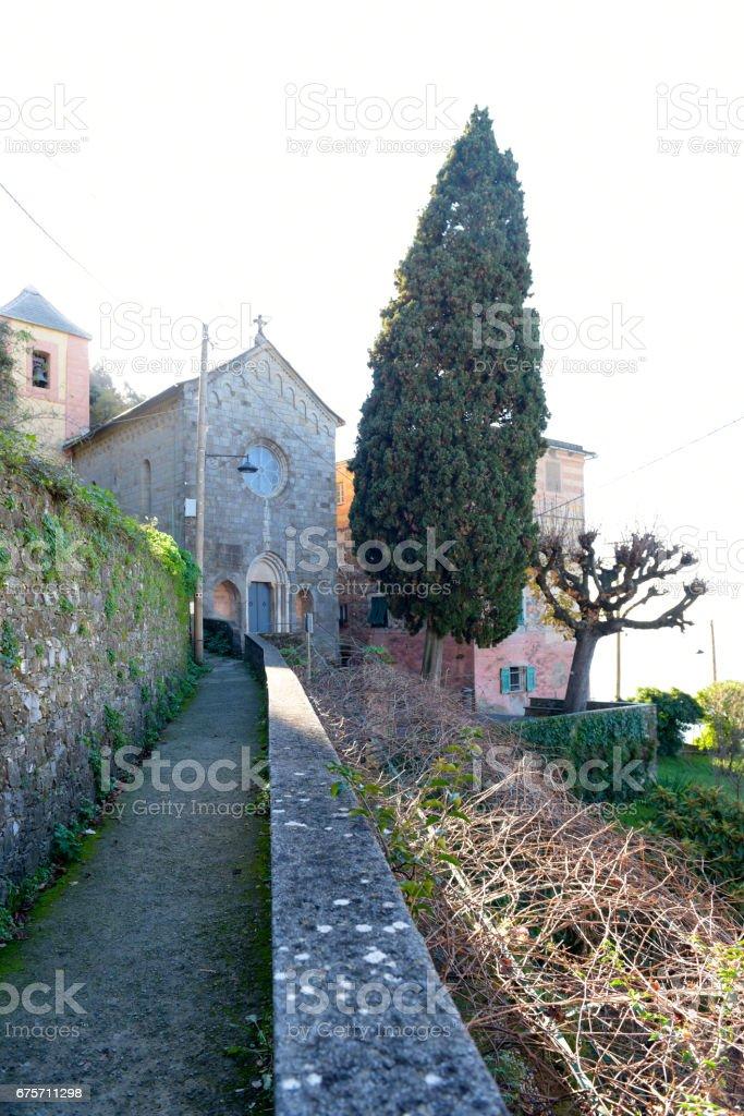 Church San Nicolò di Capodimonte close to Camogli 免版稅 stock photo