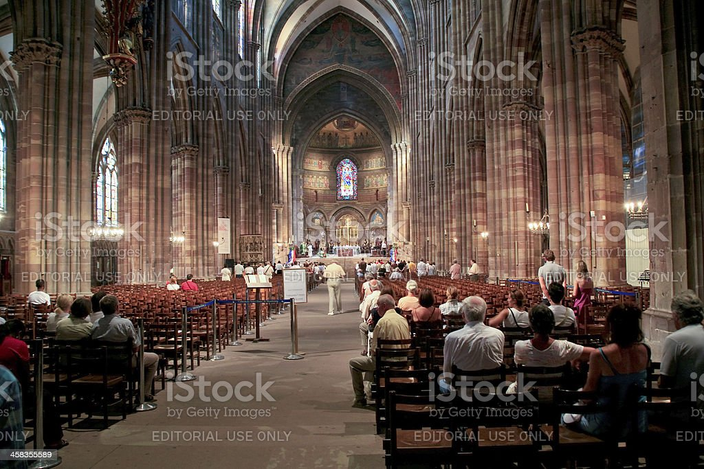 church service in Notre-Dame cathedral royalty-free stock photo