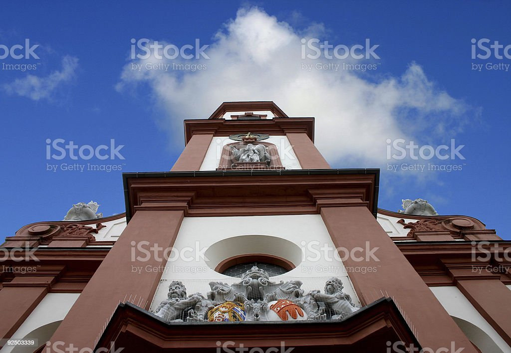 Church shot from below with blue cloudy sky royalty-free stock photo