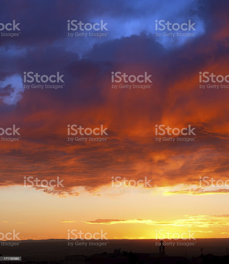 Church Silhouette at Heavenly Sunset royalty-free stock photo