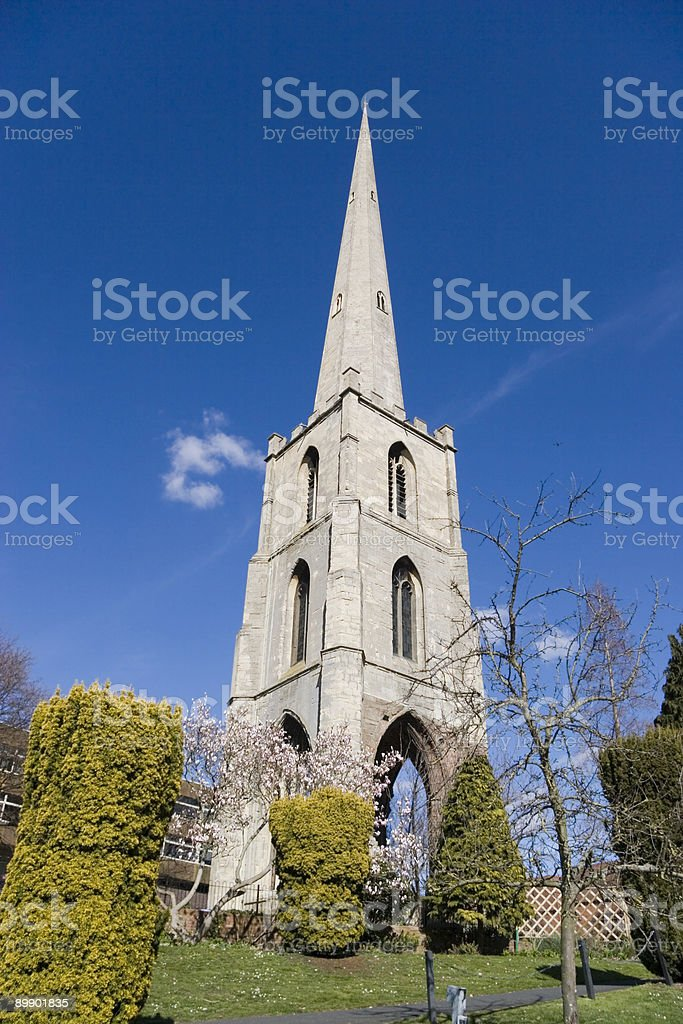 Church spire - blue sky royalty-free stock photo
