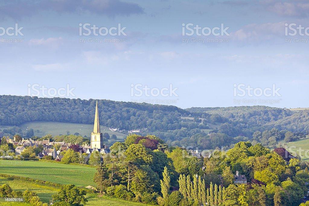 Church Spire, Idyllic rural, Cotswolds UK stock photo