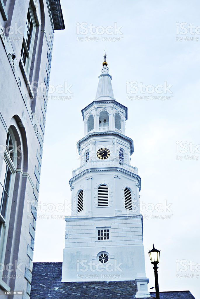 Church spire in historic downtown Charleston SC royalty-free stock photo