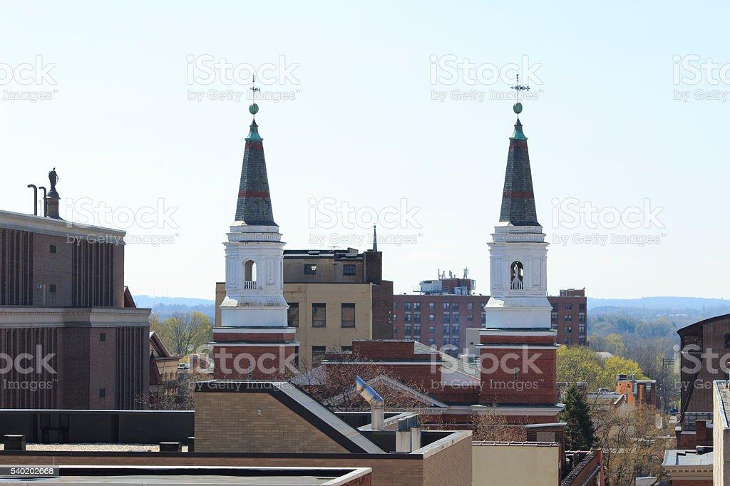 Church spires on Orange Street Lancaster stock photo