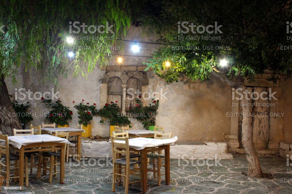 Church square at night in Folegandros stock photo
