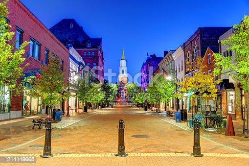 istock Church St in Downtown Burlington, Vermont 1214149668
