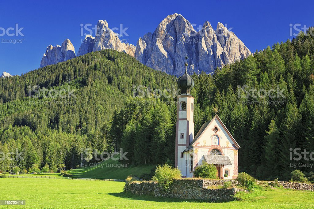 Church St. Johann in Ranui, Villnoess valley, South Tyrol, Italy stock photo