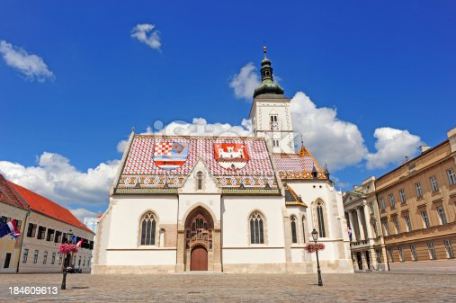 Church in Zagreb with national symbol on the roof. On the left and right side are government buildings and Parliament.
