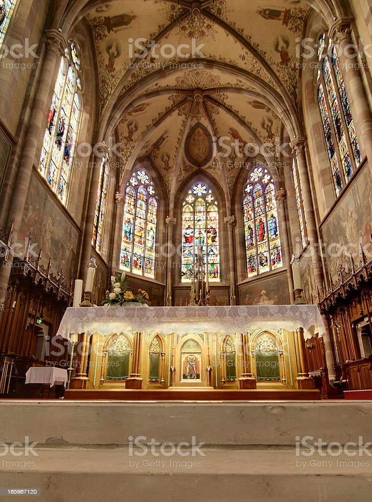 Church St Peter and Paul in Obernai, France stock photo