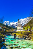 View on church St. Sebastian by village of Ramsau in the bavarian Alps