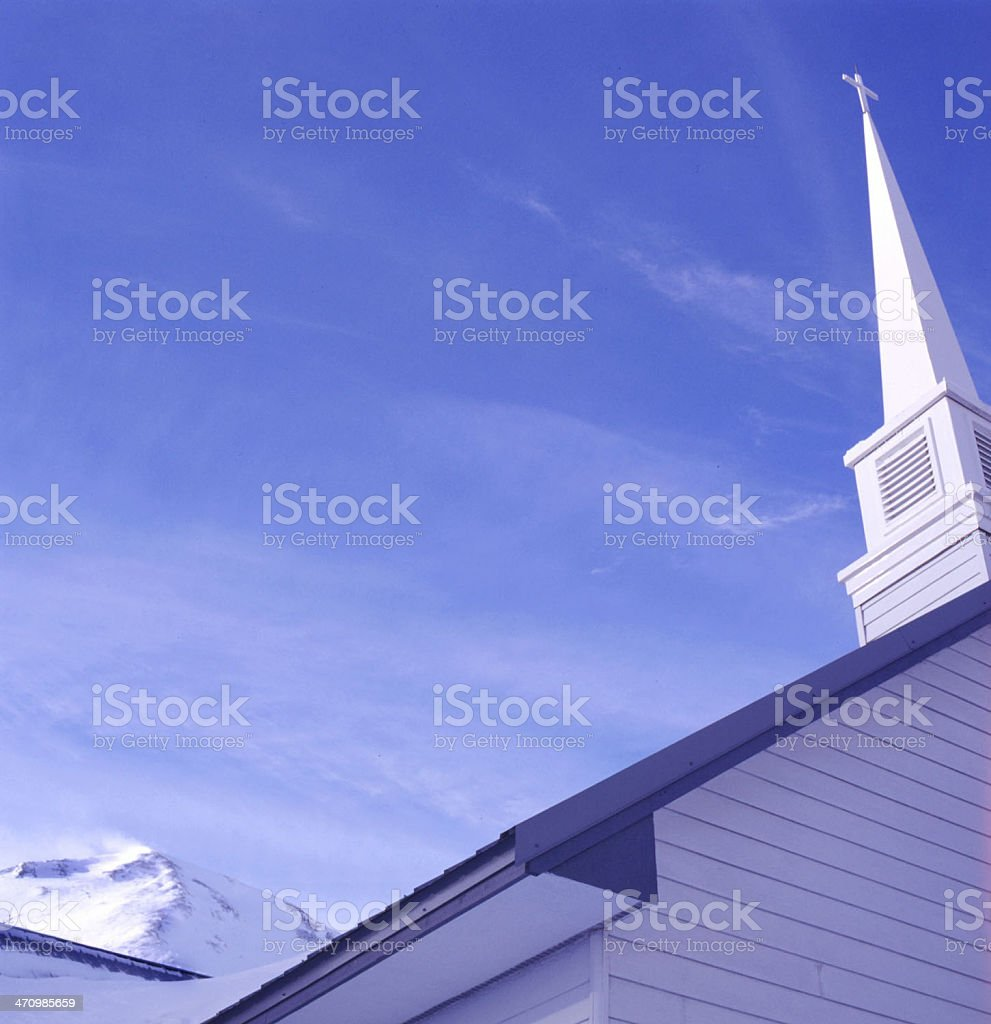 Church steeple and mountain royalty-free stock photo