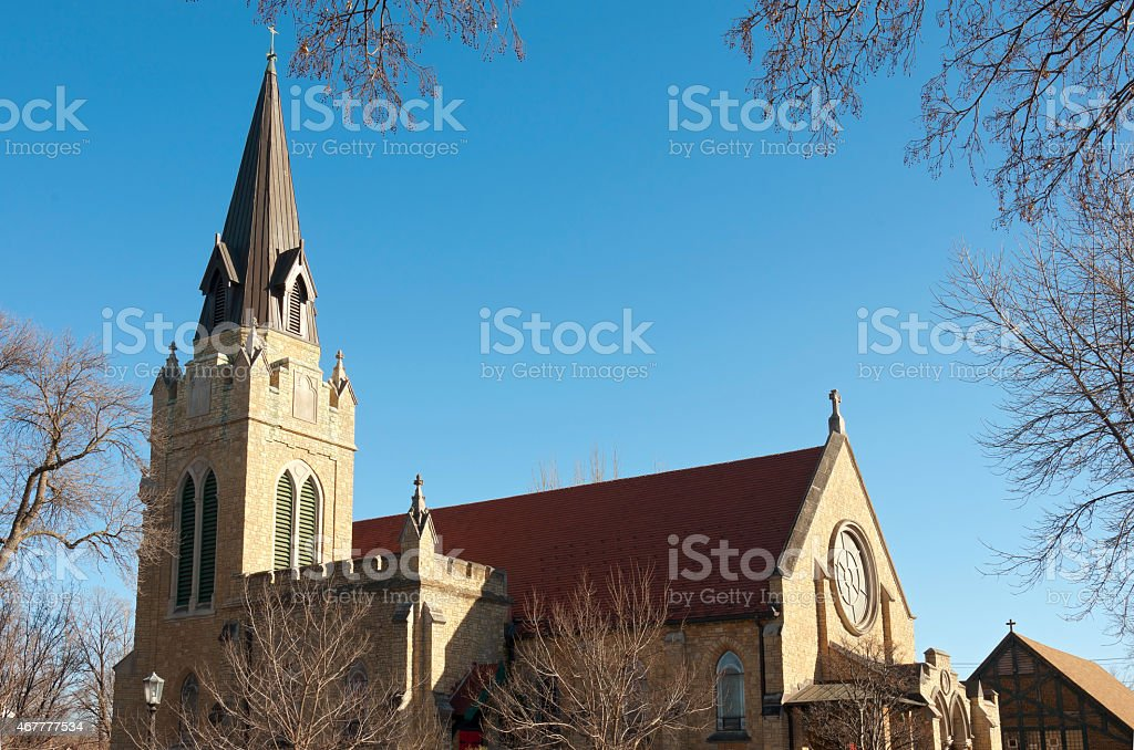Church Steeple and Nave in Saint Paul stock photo