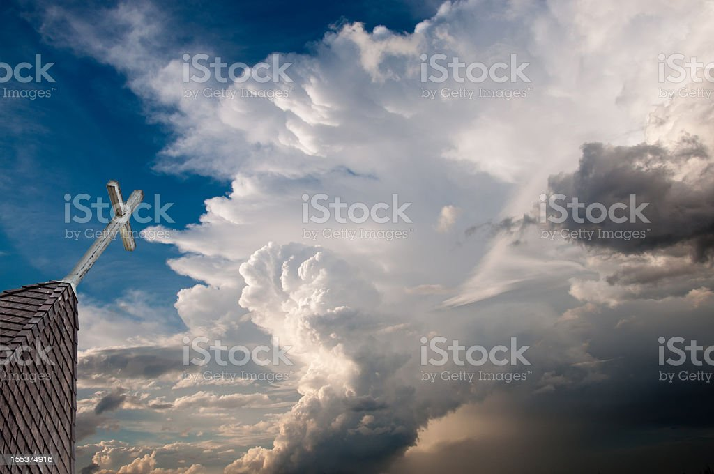 Church Steeple and Storm Clouds royalty-free stock photo