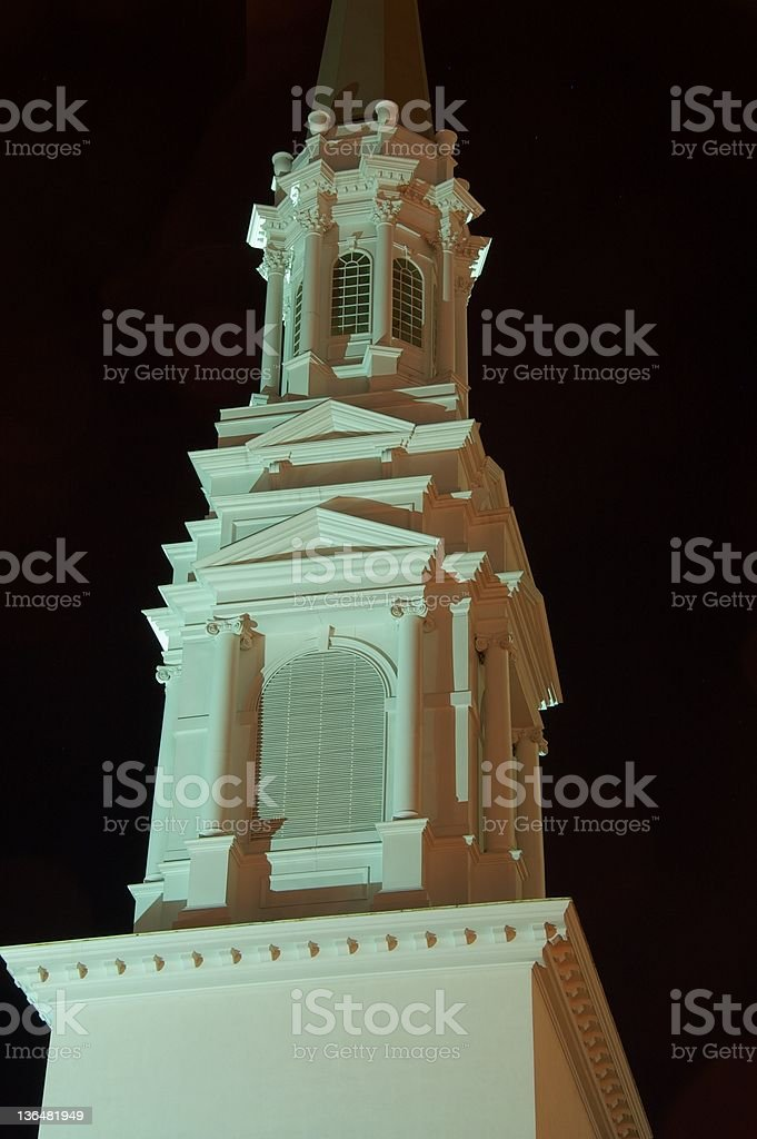 Church steeple at night in Atlanta stock photo