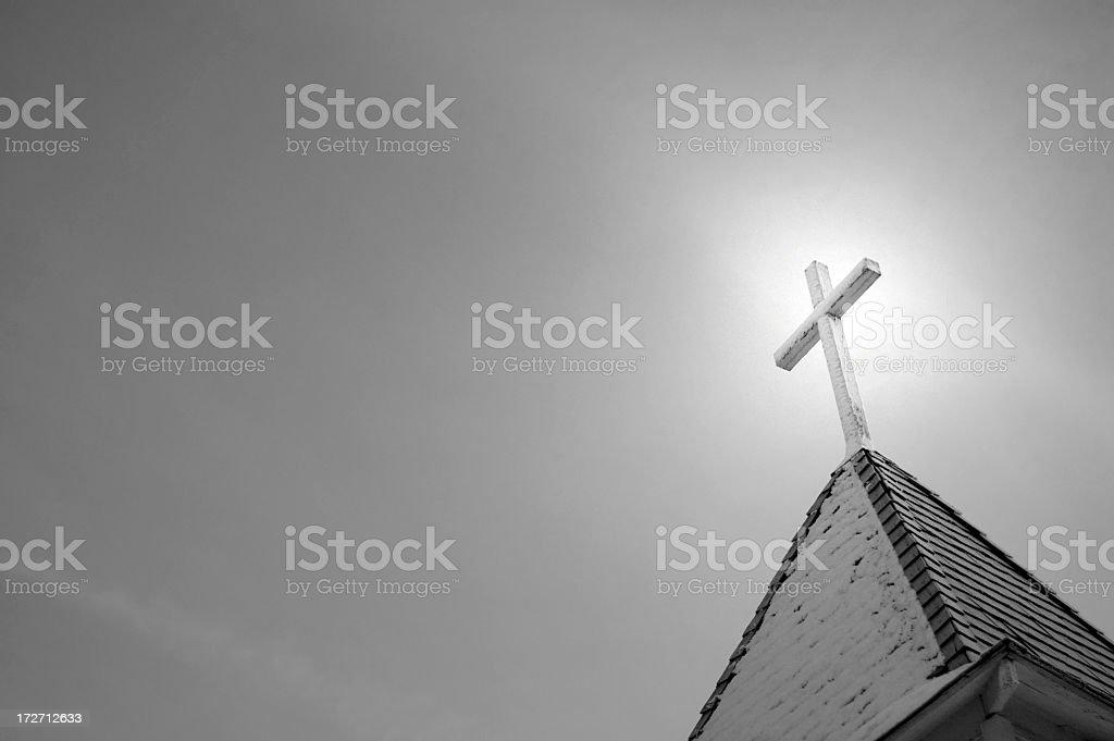 Church Steeple Black & White royalty-free stock photo