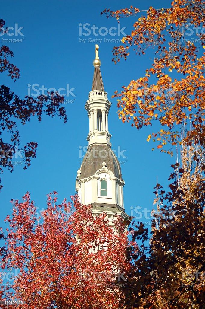 Church Steeple in Autumn stock photo