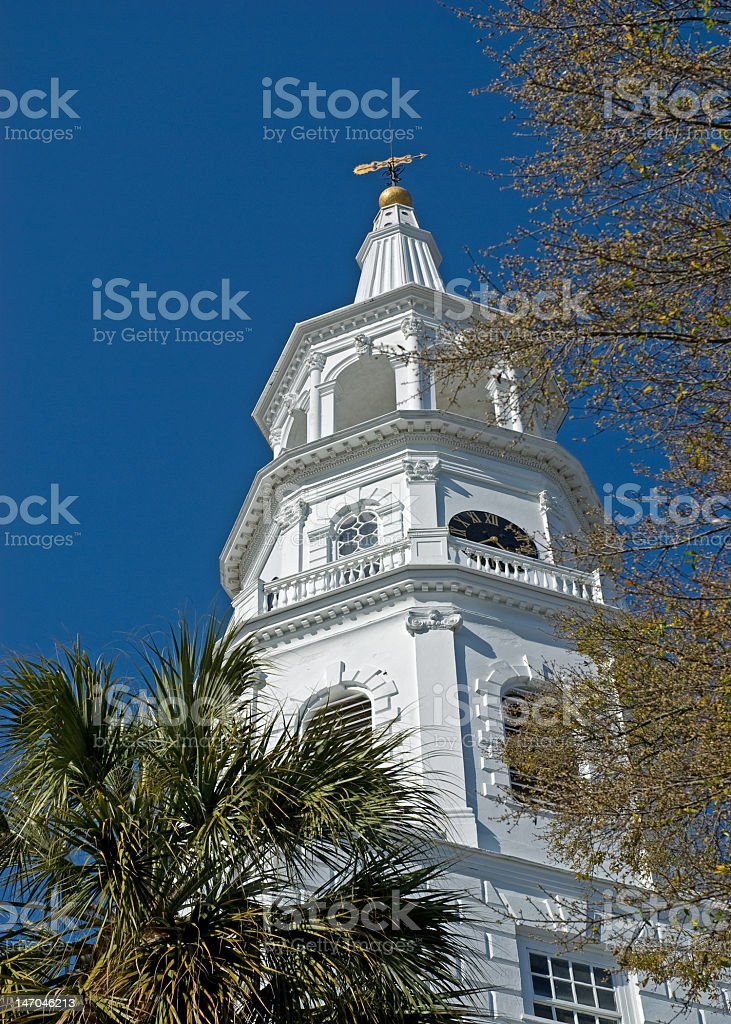 Church Steeple in the Trees royalty-free stock photo