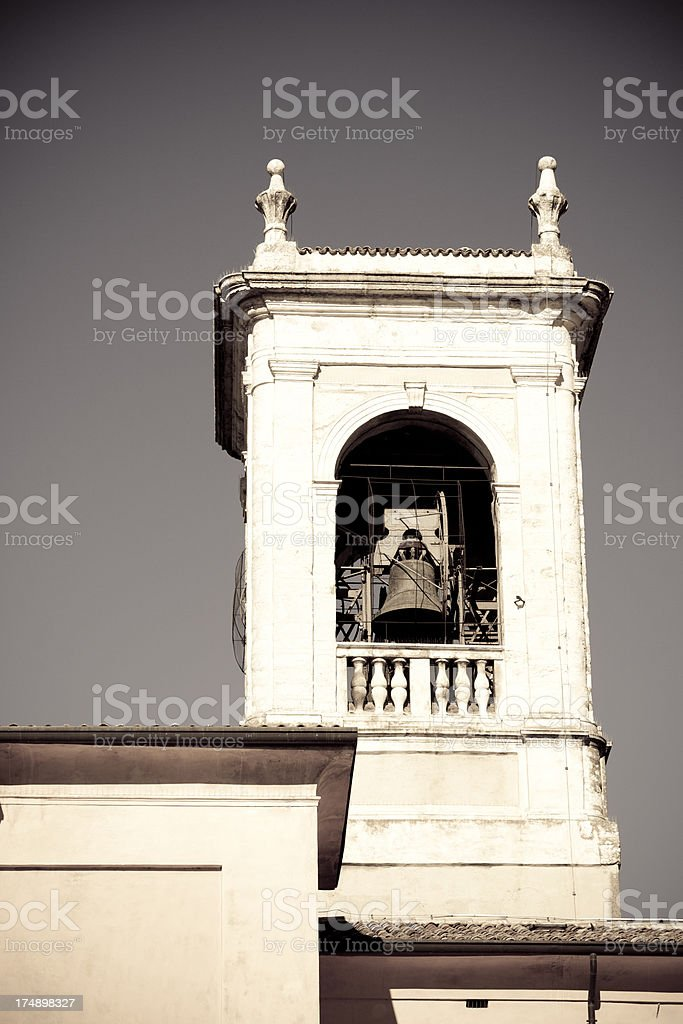 Church steeple with bell royalty-free stock photo