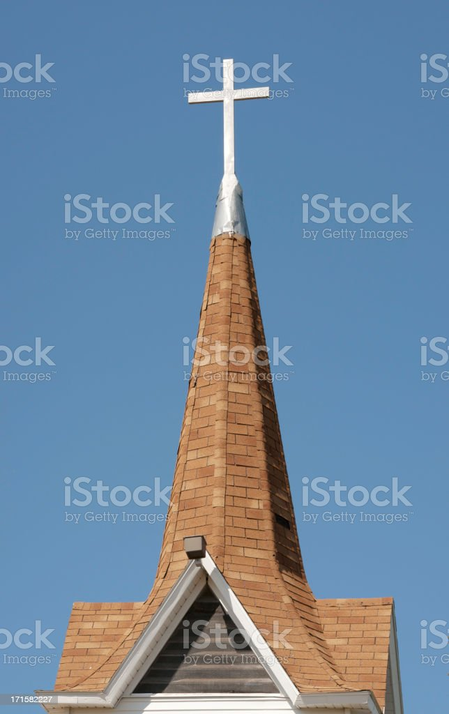 church steeple with white metal cross royalty-free stock photo