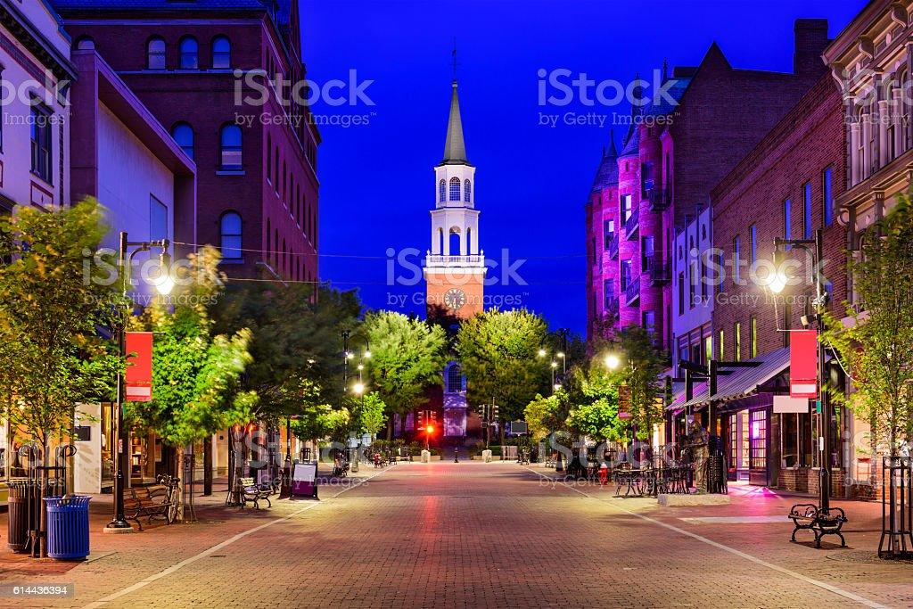 Church Street in Burlington, Vermont stock photo