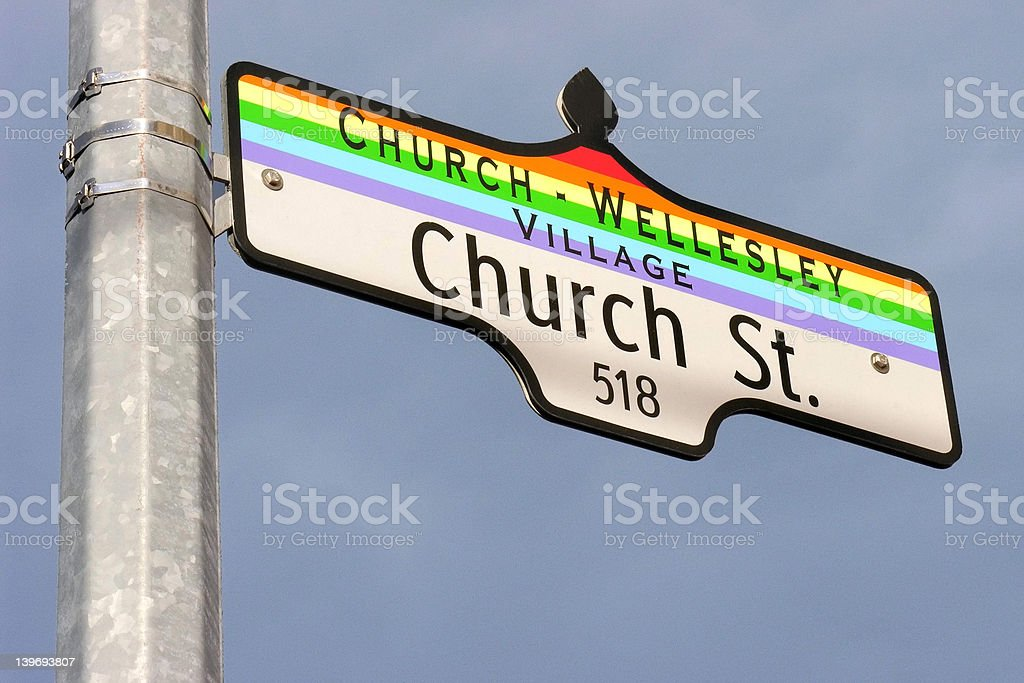 Church Street sign Street sign for Church Street (and Wellesley) in Toronto - hub of Canada's gay & lesbian community. Church Stock Photo