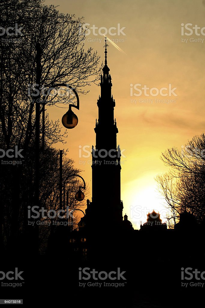 church, sunsetting royalty-free stock photo