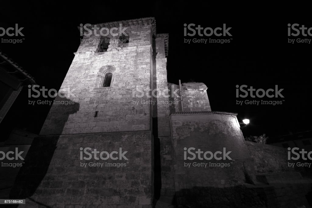 Church tower at night in La Horra, Spain stock photo