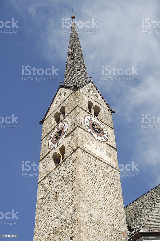 Church Tower in Grisons royalty-free stock photo