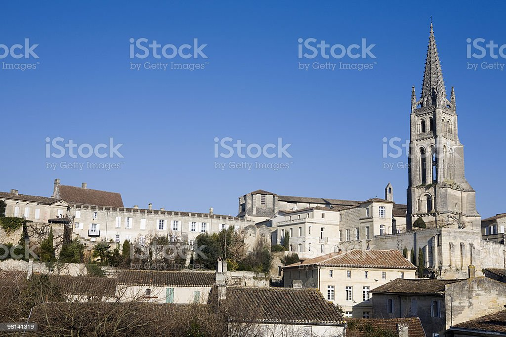 Church Tower in Saint Emilion, France and Cityscape royalty-free stock photo