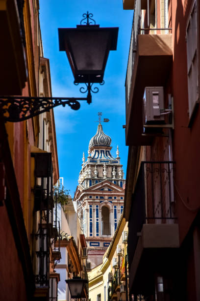 Church tower in Seville, Andalusia, Spain stock photo