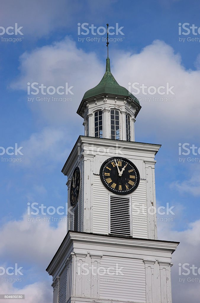 Church tower in Wiscasset, Maine, USA stock photo