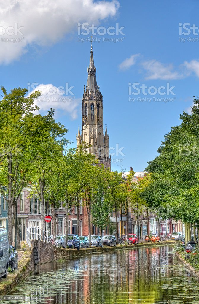 Church tower of Delft, Holland stock photo