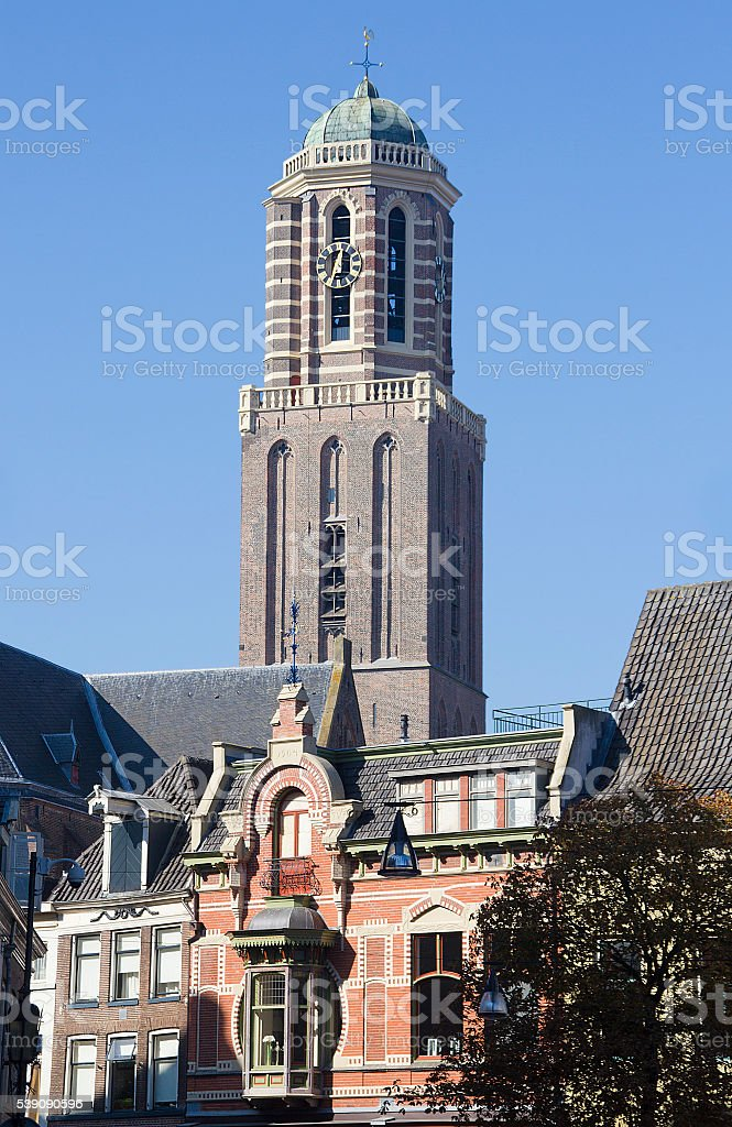 Church tower of Zwolle stock photo
