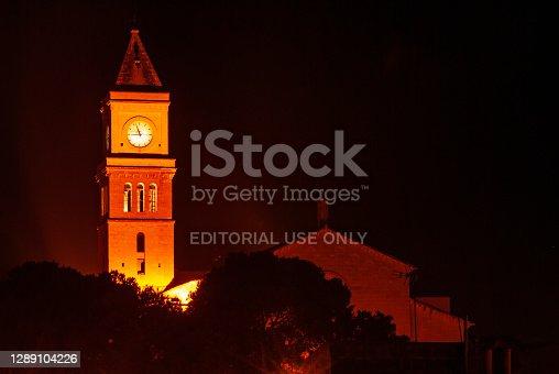 istock Church tower on Mallorca at night 1289104226