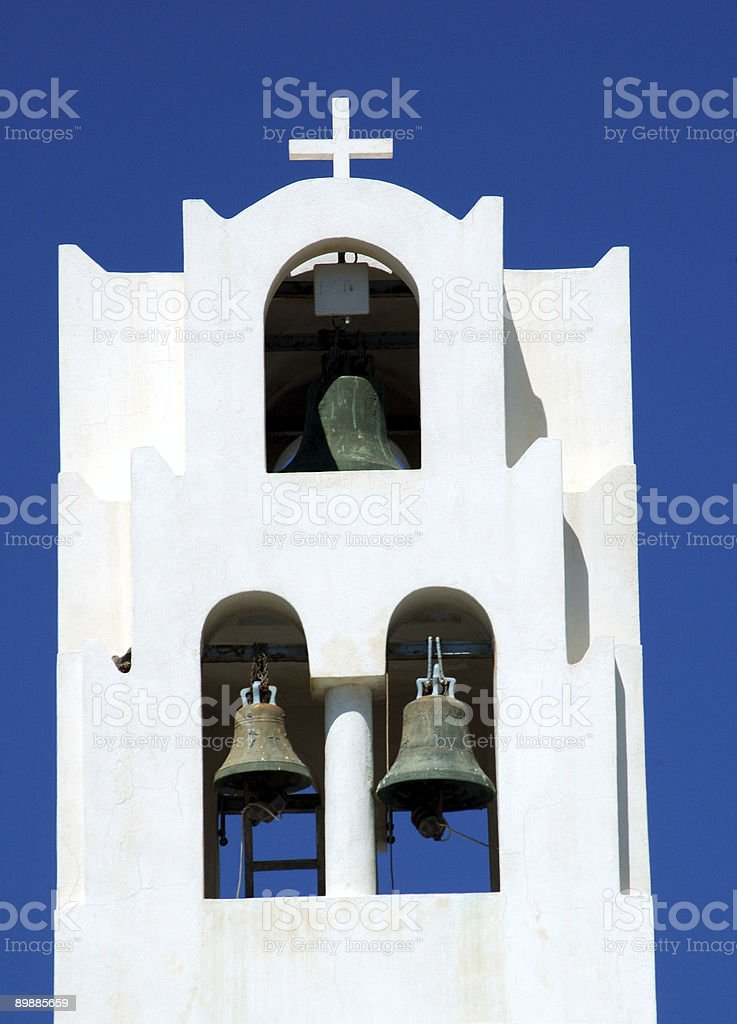 Church tower with 3 bells royalty-free stock photo