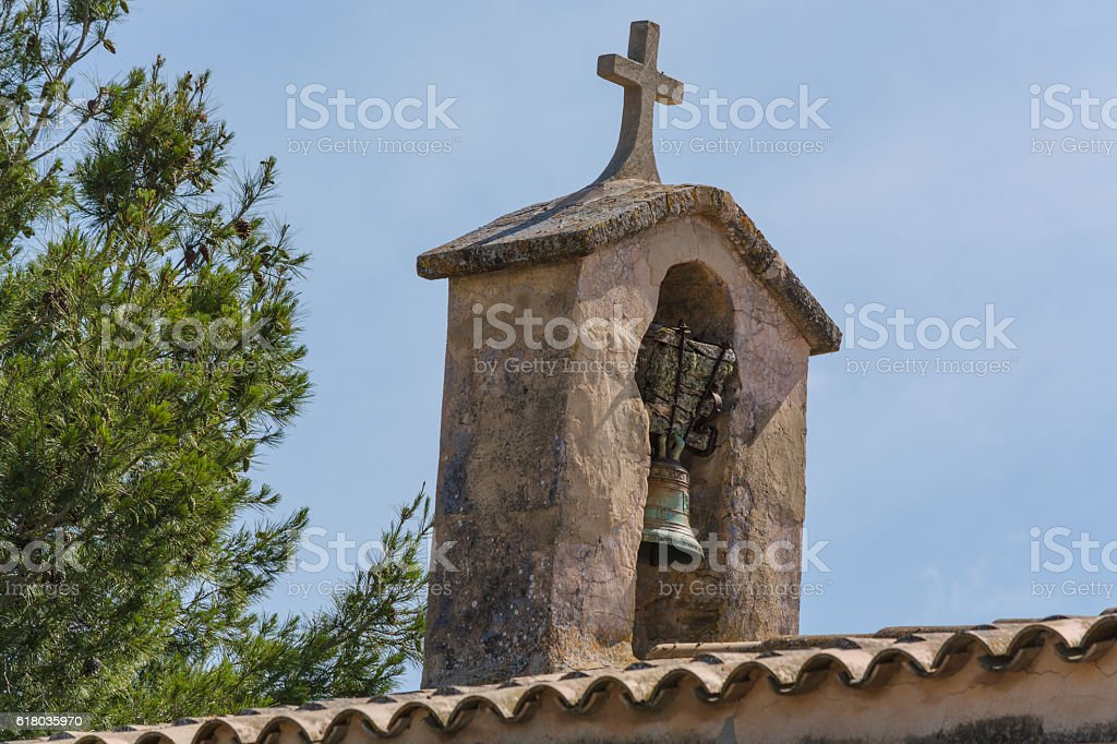 Church tower with bell in Spanish style stock photo