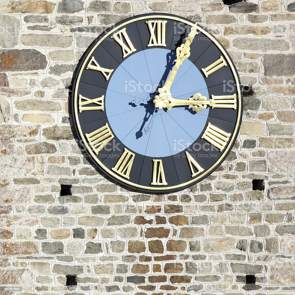 Church Tower with Clock royalty-free stock photo